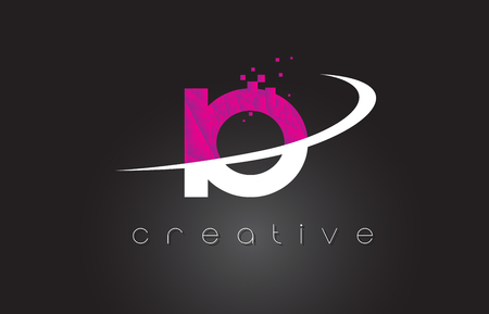 IO I O Creative Letters Design. White Pink Letter Vector Illustration.