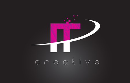 IT I T Creative Letters Design. White Pink Letter Vector Illustration.