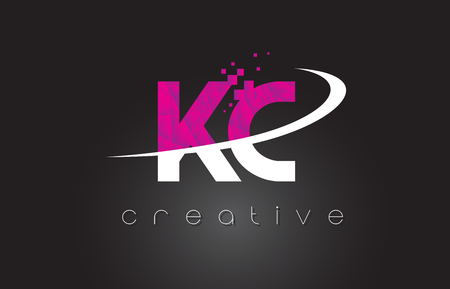 KC K C Creative Letters Design. White Pink Letter Vector Illustration. Stock Vector - 80269901
