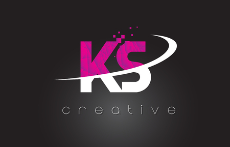 KS K S Creative Letters Design. White Pink Letter Vector Illustration.