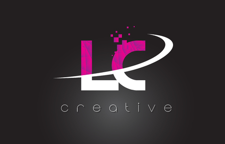 LC LC Creative Letters Design. Witte roze brief vectorillustratie. Stock Illustratie