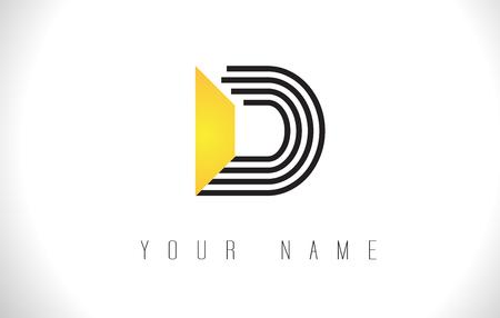 D Black Lines Letter Logo. Creatieve lijn brieven ontwerpsjabloon vector.