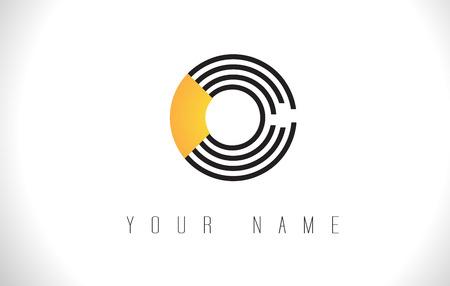 O Black Lines Letter Logo. Creative Line Letters Design Vector Template.