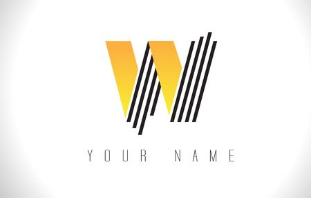 W Black Lines Letter Logo. Creative Line Letters Design Vector Template.