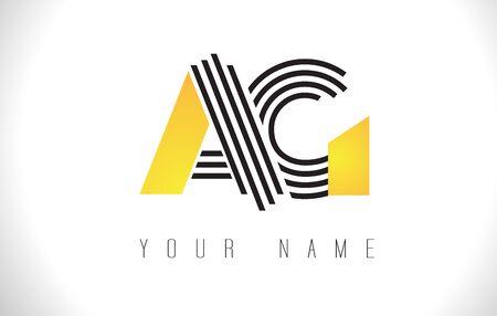 AG Black Lines Letter Logo. Creative Line Letters Design Vector Template. Illustration