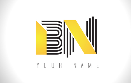 b n: BN Black Lines Letter Logo. Creative Line Letters Design Vector Template.