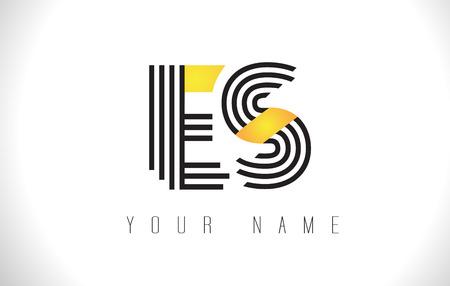 ES Black Lines Letter Logo. Creative Line Letters Design Vector Template.