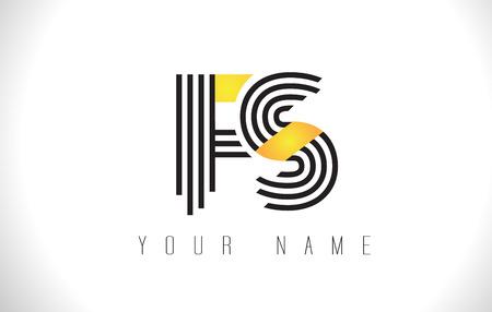 FS Black Lines Letter Logo. Creative Line Letters Design Vector Template.