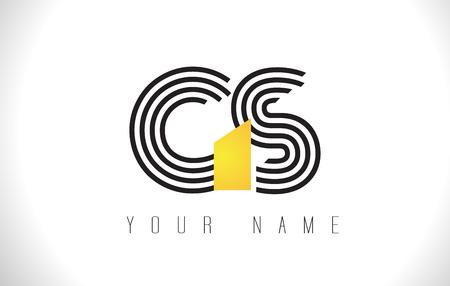 GS Black Lines Letter Logo. Creative Line Letters Design Vector Template. Illusztráció