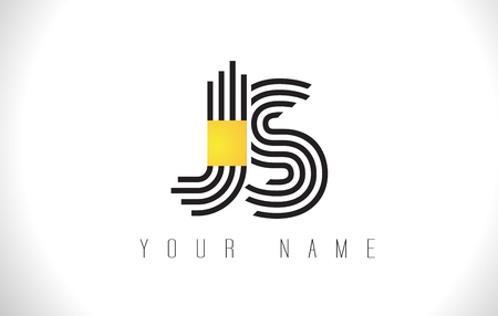 JS Black Lines Letter Logo. Creative Line Letters Design Vector Template.