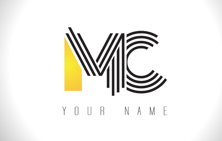 MC Black Lines Letter Logo. Creative Line Letters Design Vector Template. Illustration