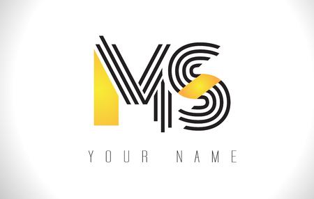 MS Black Lines Letter Logo. Creative Line Letters Design Vector Template. 向量圖像