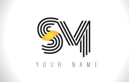 SM Black Lines Letter Logo. Creative Line Letters Design Vector Template. Ilustrace