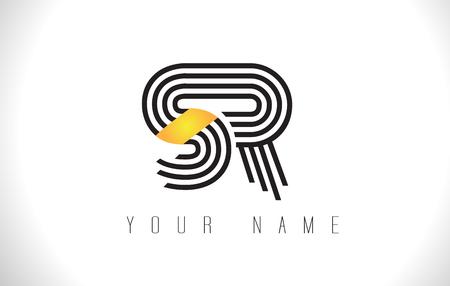 SR Black Lines Letter Logo. Creative Line Letters Design Vector Template. Ilustração