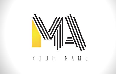 MA Black Lines Letter Logo. Creative Line Letters Design Vector Template.