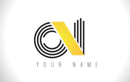 ON Black Lines Letter Logo. Creative Line Letters Design Vector Template.