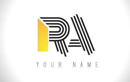Logo litery RA czarne linie. Szablon wektor kreatywnych listów linii projektu.