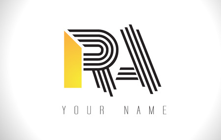 RA Black Lines Letter Logo. Creative Line Letters Design Vector Template.