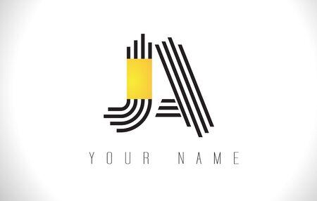 JA Black Lines Letter Logo. Creative Line Letters Design Vector Template. Illustration