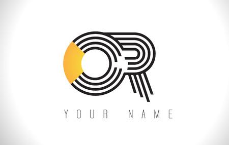OR Black Lines Letter Logo. Creative Line Letters Design Vector Template. Illustration