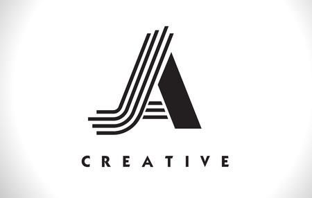 JA Letter Logo With Black Lines Design. Line Letter Symbol Vector Illustration