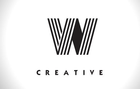 W Letter Logo With Black Lines Design. Line Letter Symbol Vector Illustration 일러스트