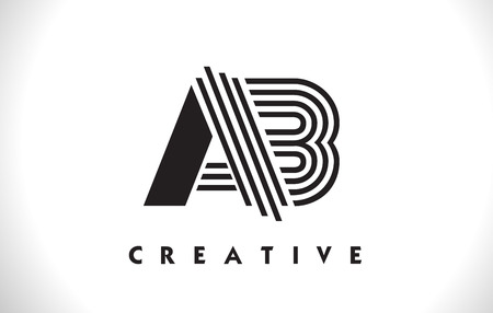 AB Letter Logo With Black Lines Design. Line Letter Symbol Vector Illustration
