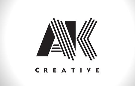AK Letter Logo With Black Lines Design. Line Letter Symbol Vector Illustration