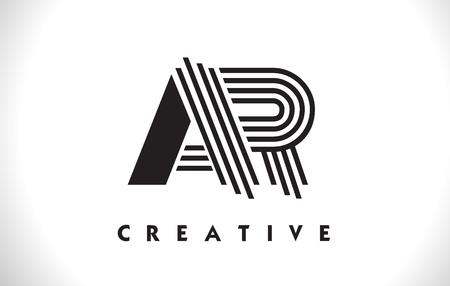 ar: AR Letter Logo With Black Lines Design. Line Letter Symbol Vector Illustration