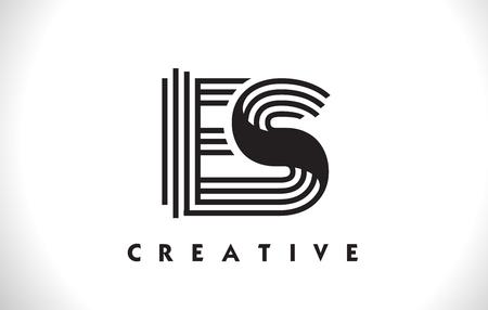 ES Letter Logo With Black Lines Design. Line Letter Symbol Vector Illustration