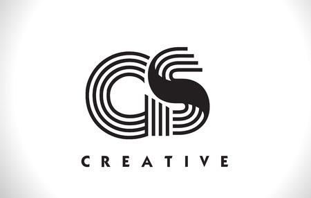 GS Letter Logo With Black Lines Design. Line Letter Symbol Vector Illustration Illusztráció