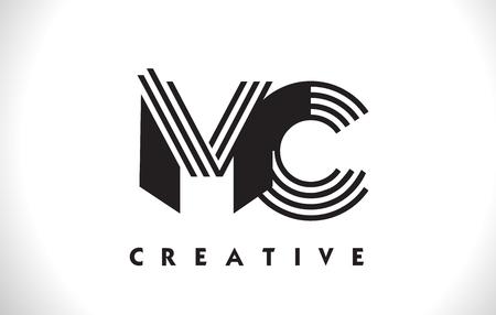 MC Letter Logo With Black Lines Design. Line Letter Symbol Vector Illustration Illustration