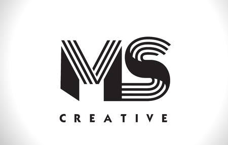 MS Letter Logo With Black Lines Design. Line Letter Symbol Vector Illustration