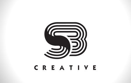SB Letter Logo With Black Lines Design. Line Letter Symbol Vector Illustration Ilustração