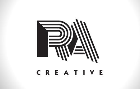 Logo litery RA z czarnymi liniami projektu. Linia listu Symbol wektor ilustracja