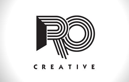 Logo de lettre RO avec lignes noires. Illustration vectorielle de ligne lettre symbole Banque d'images - 81494061