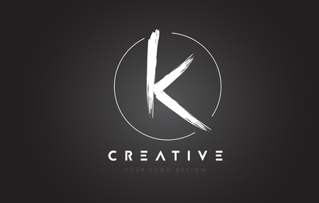 K Brush Letter Logo Design. Artistic Handwritten Brush Letters Logo Concept Vector.