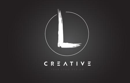 L Brush Letter Logo Design. Artistic Handwritten Brush Letters Logo Concept Vector. Ilustrace