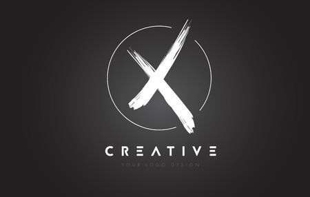 Diseño del logotipo de la letra del cepillo de X. Artistic Handwritten Brush Cartas Logotipo De Concepto. Logos
