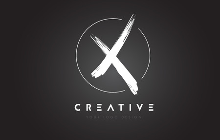 X Brosse lettre Logo Design. Artistic Handwritten Brush Letters Logo Concept de vecteur. Logo