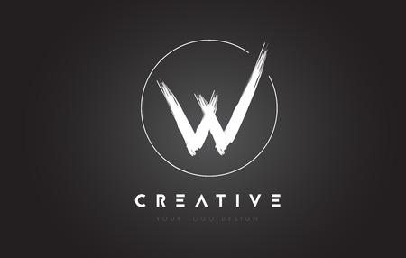 W Brush Letter Logo Design. Artistic Handwritten Brush Letters Logo Concept Vector. Иллюстрация