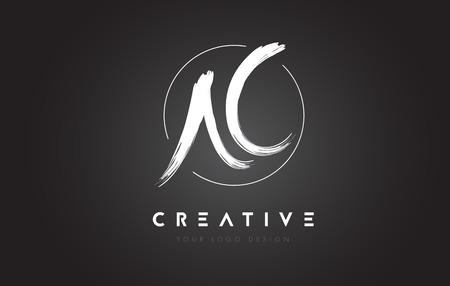 AC Brush Letter Logo Design. Artistic Handwritten Brush Letters Logo Concept Vector.