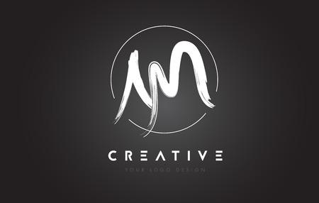 am: AM Brush Letter Logo Design. Artistic Handwritten Brush Letters Logo Concept Vector. Illustration
