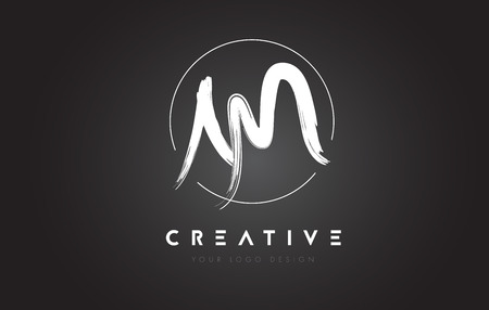 AM Brush Letter Logo Design. Artistic Handwritten Brush Letters Logo Concept Vector. Illustration