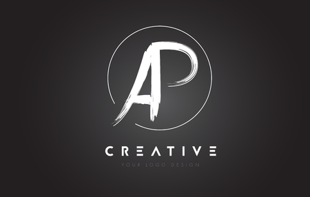 AP Brush Letter Logo Design. Artistic Handwritten Brush Letters Logo Concept Vector. Illustration