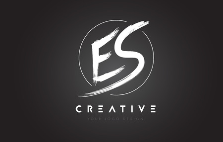 ES Brush Letter Logo Design. Artistic Handwritten Brush Letters Logo Concept Vector. Banco de Imagens - 81574051