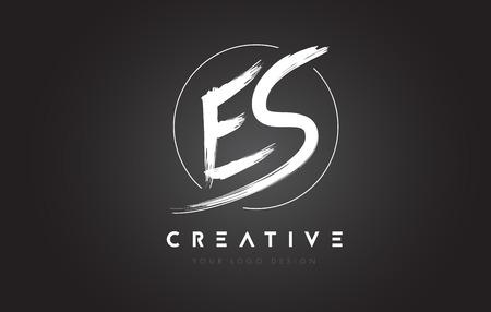 ES Brush Letter Logo Design. La spazzola scritta a mano artistica segna Logo Concept Vector.