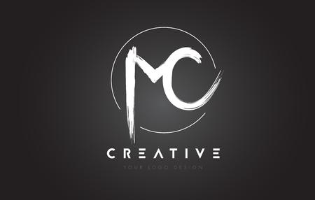 MC Brush Letter Logo Design. Artistic Handwritten Brush Letters Logo Concept Vector. Illustration