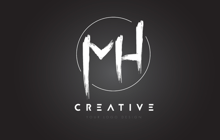 MH Brush Letter Logo Design. Artistic Handwritten Brush Letters Logo Concept Vector.