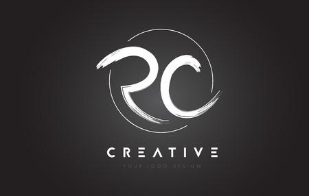 RC Brush Letter Logo Design. Artistic Handwritten Brush Letters Logo Concept Vector.